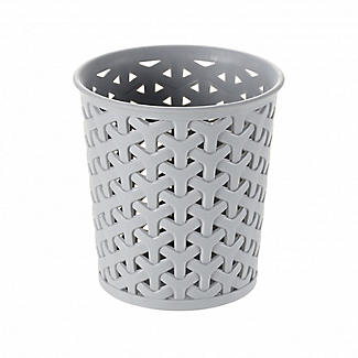 Faux Rattan Small Storage Pot Grey alt image 1