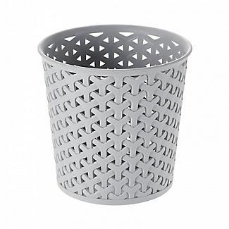 Faux Rattan Medium Storage Pot Grey
