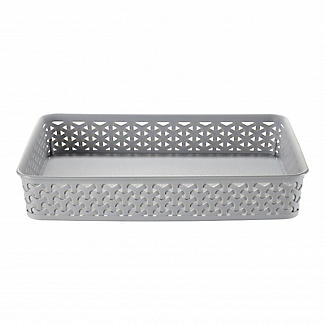 Faux Rattan Large Storage Tray Grey alt image 1