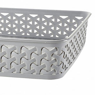 Faux Rattan Large Storage Tray Grey alt image 3