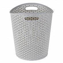 Faux Rattan Waste Paper Basket Grey 13L