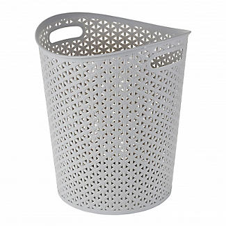 Faux Rattan Waste Paper Basket Grey 13L alt image 2