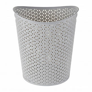 Faux Rattan Waste Paper Basket Grey 13L alt image 3