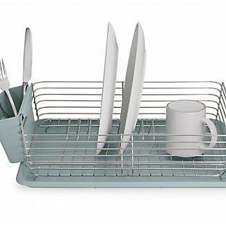 Lakeland Deco Stainless Steel Dish Drainer with Teal Drip Tray