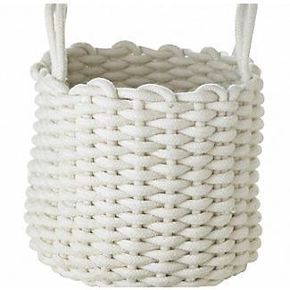 Mini Round Woven Rope Storage Tote Cream 3L