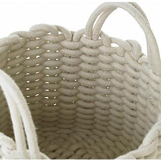 Mini Round Woven Rope Storage Tote Cream 3L alt image 3