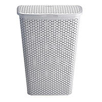 Faux Rattan Lidded Laundry Hamper Grey 55L