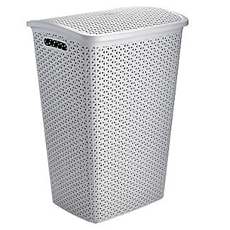 Faux Rattan Lidded Laundry Hamper Grey 55L alt image 4