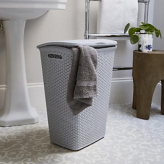 Faux Rattan Lidded Laundry Hamper Grey 55L alt image 5