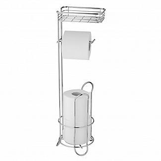Chrome Toilet Roll Stand Plus with Storage Shelf