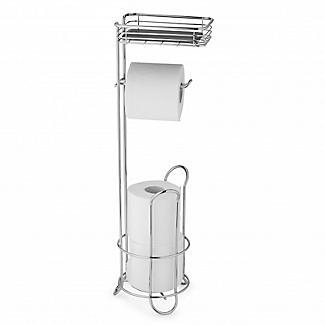 Chrome Toilet Roll Stand Plus with Storage Shelf alt image 2