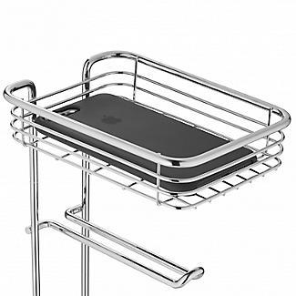 Chrome Toilet Roll Stand Plus with Storage Shelf alt image 4