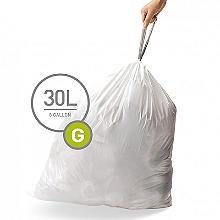 60 simplehuman Size G Drawstring Bin Liners - White Bags 30L