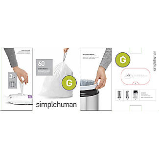 60 simplehuman Size G Drawstring Bin Liners - White Bags 30L alt image 3
