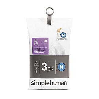 60 simplehuman Size N Drawstring Bin Liners - white bags 45-50L alt image 2