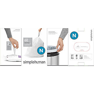 60 simplehuman Size N Drawstring Bin Liners - white bags 45-50L alt image 3