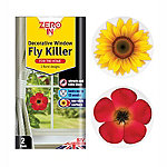 Decorative Fly Killer Window Stickers Floral Design Pack of 2