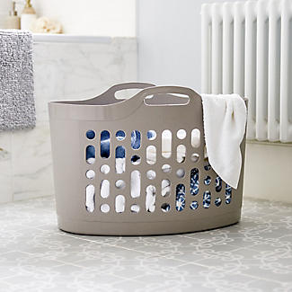Flexible Plastic Flexi-Store Laundry Basket 50L Latte alt image 2