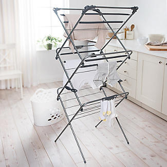 Easy-Up Concertina Indoor Clothes Airer Deluxe Grey 14m alt image 2