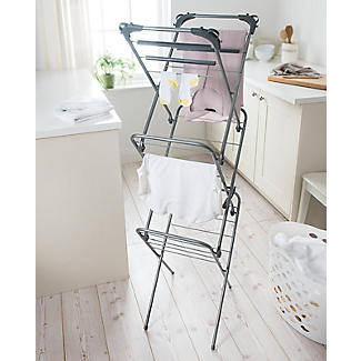 Slimline Easy-Up Concertina Indoor Clothes Airer Deluxe Grey 8m alt image 2