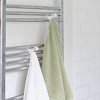 Towel Rail Hooks for Airing Towels and Bathrobes - Pack of 2 alt image 2