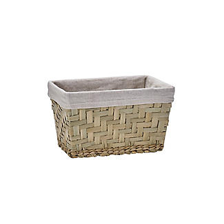 Natural Woven Storage Hamper Basket With Liner – Small