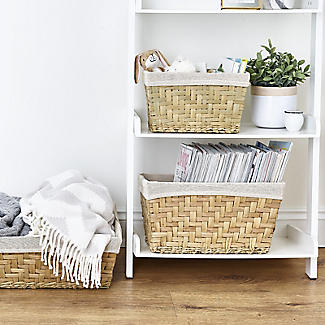 Natural Woven Storage Hamper Basket With Liner – Small alt image 2