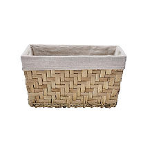 Natural Woven Storage Basket with Removable Linen Lining – Deep