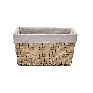 Natural Woven Storage Hamper Basket With Liner – Deep