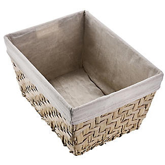 Natural Woven Storage Hamper Basket With Liner – Deep alt image 4