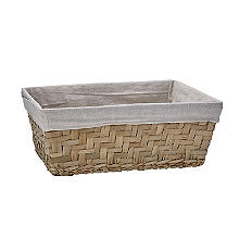 Natural Woven Storage Basket with Removable Linen Lining – Large Shallow
