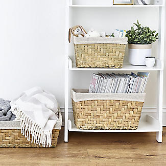 Natural Woven Storage Basket with Removable Linen Lining – Large Shallow alt image 2