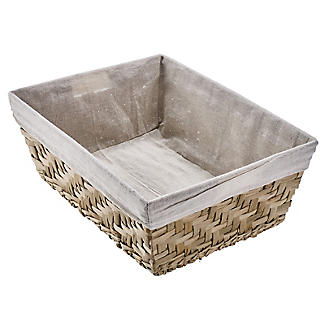 Natural Woven Storage Basket with Removable Linen Lining – Large Shallow alt image 4