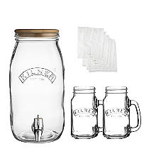 Kilner Kombucha Tea Brewing Kit with 3L Drinks Dispenser and 2 Glasses