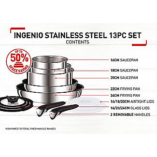 Tefal Ingenio 13-Piece Stainless Steel Pan Set alt image 4