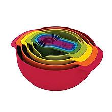 Joseph Joseph Nest 9 Plus Mixing Bowl and Measuring Set – Red
