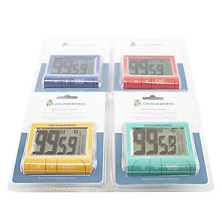 Colourworks Digital Easy Read Magnetic Kitchen Timer – Colours Vary