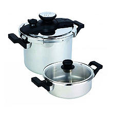 Prestige 4-Piece Stainless Steel Pressure Cooker Set – 3L and 6L