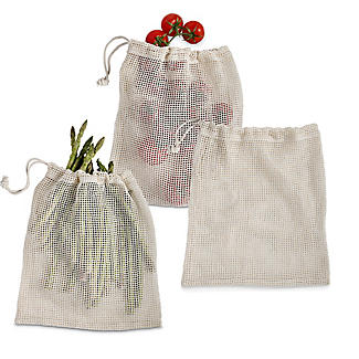 3 Unbleached Cotton Net Food Produce Bags