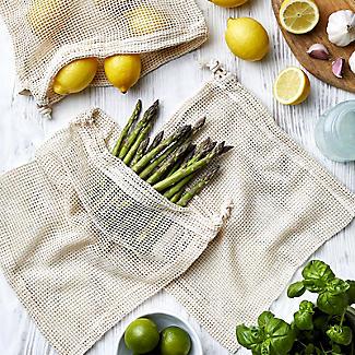 3 Unbleached Cotton Net Food Produce Bags alt image 2