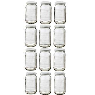 12 Standard Glass Jam Jars With 12 White Lids 1lb 454g