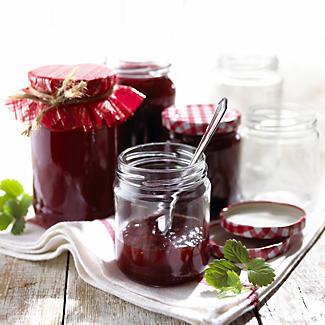 12 Standard Glass Jam Jars With 12 Blue & Red Lids 1lb 454g alt image 2