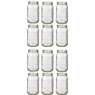 12 Standard Glass Jam Jars With 12 Blue & Red Lids 1lb 454g alt image 3