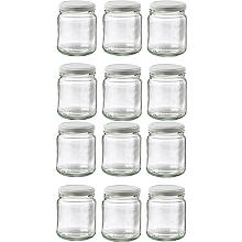 12 Small Glass Jam Jars With 12 White Lids