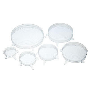 6 Kitchencraft Clear Stretchable Reusable Silicone Lids