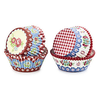 80 Floral and Gingham Greaseproof Cupcake Cases