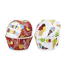 Happy Birthday and Ice Cream Greaseproof Cupcake Cases 80 Pack