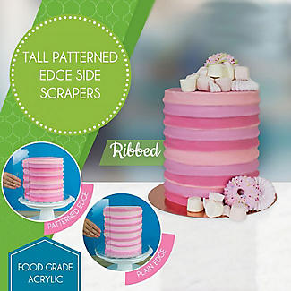 PME Tall Patterned Edge Side Scraper for Cake Decorating – Ribbed alt image 2