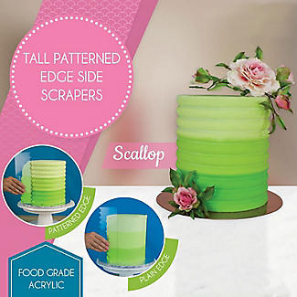 PME Patterned Edge Side Scraper for Cake Decorating – Scalloped  alt image 2
