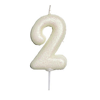 Anniversary House Iridescent White Number 2 Candle